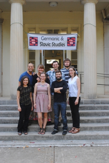 Graduate students on the steps of Joe Brown Hall (Departmental Social, Fall 2014)
