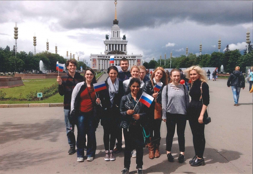 group photo of students in Russia
